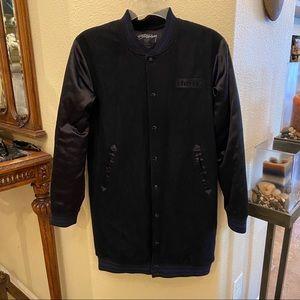 STUSSY Long Black Wool Jacket Size Small